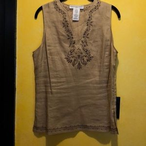 Beautiful embroidered 100% linen sleeveless  top